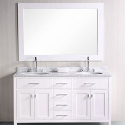 "61"" London Double Sink Vanity - White(DEC076A-W) -"