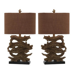 Safavieh - Lorena Table Lamp, Set of 2 - Fashion-right in keeping with the faux bois trend, the Lorena table lamp replicates found wood in its base and finial. Crafted of resin, this set of two transitional lamps comes with chic brown cotton shades for a natural earthy look in any setting.
