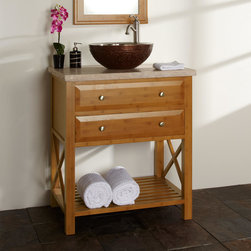 "30"" Clinton Bamboo Vessel Sink Vanity - A favorite piece, the 30"" Clinton Vanity will fit well in both modern and traditional settings thanks to its unfussy lines and sophisticated silhouette."