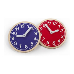 Whitneybrothers - Whitney Brothers Kids Learning Wall Clock What Time Is It? - Red - Great learning tool for telling time.  Bright decorative decal applied to birch laminate clock body in natural UV finish. Hour and minute hands are easy to manipulate, but stay in place. GreenGuard certified. Made in the USA. Lifetime Warranty.