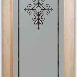 "Pantry Door - Interior Glass Door Maya - PANTRY DOORS TO SUIT YOUR STYLE!  Glass Pantry Doors you customize, from wood type to glass design!   Shipping is just $99 to most states, $159 to some East coast regions, custom packed and fully insured with a 1-4 day transit time.  Available any size, as pantry door glass insert only or pre-installed in a door frame, with 8 wood types available.  ETA for pantry doors will vary from 3-8 weeks depending on glass & door type.........Block the view, but brighten the look with a beautiful obscure, decorative glass pantry door by Sans Soucie!   Select from dozens of frosted glass designs, borders and letter styles!   Sans Soucie creates their pantry door obscure glass designs thru sandblasting the glass in different ways which create not only different effects, but different levels in price.  Choose from the highest quality and largest selection of frosted glass pantry doors available anywhere!   The ""same design, done different"" - with no limit to design, there's something for every decor, regardless of style.  Inside our fun, easy to use online Glass and Door Designer at sanssoucie.com, you'll get instant pricing on everything as YOU customize your door and the glass, just the way YOU want it, to compliment and coordinate with your decor.  When you're all finished designing, you can place your order right there online!  Glass and doors ship worldwide, custom packed in-house, fully insured via UPS Freight.   Glass is sandblast frosted or etched and pantry door designs are available in 3 effects:   Solid frost, 2D surface etched or 3D carved. Visit or site to learn more!"