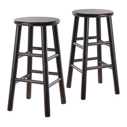 Winsome - Set of 2 24 in.  Bevel seat stools - Dark Espresso - Set of 2 solid wood 24 in. counter height stools with beveled seat in Espresso finish . Rounded legs are sturdy; able to hold up to 200lbs. The beveled seat is contoured for comfort. The stools ship fully assembled