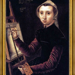 """Catharina Van Hemessen-16""""x20"""" Framed Canvas - 16"""" x 20"""" Catharina Van Hemessen Self-Portrait framed premium canvas print reproduced to meet museum quality standards. Our museum quality canvas prints are produced using high-precision print technology for a more accurate reproduction printed on high quality canvas with fade-resistant, archival inks. Our progressive business model allows us to offer works of art to you at the best wholesale pricing, significantly less than art gallery prices, affordable to all. This artwork is hand stretched onto wooden stretcher bars, then mounted into our 3"""" wide gold finish frame with black panel by one of our expert framers. Our framed canvas print comes with hardware, ready to hang on your wall.  We present a comprehensive collection of exceptional canvas art reproductions by Catharina Van Hemessen."""