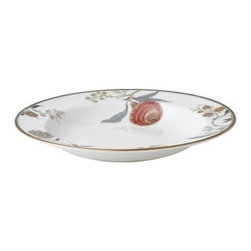 Wedgwood Pashmina Rim Soup Bowl - You'll fall in love with the beautiful floral motifs and vivid palette of the Wedgwood Pashmina Rim Soup Bowl. Perfect for serving your favorite soup, this gorgeous bowl is crafted from dishwasher safe fine bone china and features a lustrous gold trim. About WedgwoodThrough highly skilled craftsmanship and the highest quality standards, Wedgwood manufactures quality ceramics with sophisticated, classical, and contemporary design. With a tradition of innovation, quality, and craftsmanship, Wedgwood designs are widely acknowledged as timeless, elegant, classic, and understated. Their design teams work with external designers for cross-pollination of ideas and experience. Founded in 1759 by Josiah Wedgwood, Wedgwood has been an international company determined to uphold their standards in order to maintain their leadership in the world's markets. Though their roots are over two centuries old, the company strives to stay current through partnerships with fashion designers Jasper Conran and Vera Wang with whom they've developed contemporary and stylish ranges that appeal to the younger consumers.
