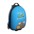 """Mercury Luggage - Children's Carry-on Luggage in Blue - Carry-on approved. Clear in-line wheels. Lined interior . Internal zippered divider . Fun, bright and durable. 12 in. L x 9 in. W x 18 in. H (4 lbs)They will enjoy the pictures of the animals on the front and back and so will the Parents & Grandparents. It has a a push button adjustable telescopic handle & pulls out to (18 in. or 10 in.), and a top center carry handle, 2.5 in. Clear Plastic in-line skate wheels with protective guards. On the bottom is a foot-support for stand alone balance, has a """"U"""" shaped zipper opening. The inside has has nylon lining, tie down straps on one side with a """" U """" shaped zipper on the other side to protect personal items."""