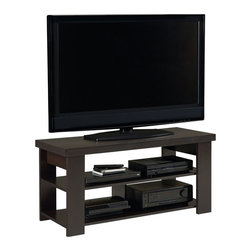 "Ameriwood - Ameriwood Hollow Core 47"" TV Stand in Black Forest - Ameriwood - TV Stands - 1194012YCOM - Looking for a Transitional TV stand with simple open shelving to display your home theater gear? This attractive TV stand from Ameriwood offers the perfect solution with its clean lines and handsome Black Forest finish. Designed to hold flat-panel TVs up 47"" the console supports up to 100 pounds of weight on the top shelf while offering plenty of room for your system components underneath. Two lower shelves feature an open design with space for your set-top box DVD player video game console or other systems. Simple yet stylish the Ameriwood Hollow Core TV Stand blends easily with virtually any style of decor and the black finish gives it a sleek modern look. Easy to assemble with household tools. Made in USA."