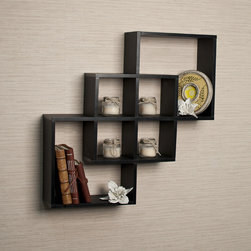 Danya B - Intersecting Squares Decorative Black Wall Shelf - Decorative wall shelves show 3 boxes that intersect and connect with each other creating a geometric pattern with 6 openings. Hidden perforations secure to nails or screws,and allow for the piece to be hung either vertically or horizontally.