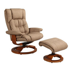 "MAC MOTION CHAIRS - Oslo Collection Stone Tan Nubuck Bonded Leather Swivel Recliner w/ Ottoman - Norwegian styling never had it so good, with this unique 2 pc matching chair and ottoman, from the ""Oslo Collection"". Nested within the strong selective hardwood frame with a warm ""Walnut"" wood frame finish, to match its accented ottoman, this is the winner! Offering a pillow top back rest along the back cushion, along with ""MX-2"" memory foam throughout, makes for therapy comfort, support and styling. All within a standard seating area is this models overall width of only 30"". It fits very comfortably within most areas of the home. Features include 360 degree swivel, multiple adjustment recline for personalized positions and matching ottoman. Both pieces are covered in bonded leather, everywhere you touch. This ""Stone"" bonded leather color is complimented by the warm ""Walnut"" wood frame finish, of the quality euro style frame."