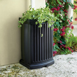 Grandin Road - Madison Rain Barrel - Crafted from durable, all-weather polyethylene. Connects quickly and easily to any existing downspout (adapter may be needed, available at any hardware store). Collects up to 40 gal. of water. Handy valve easily dispenses the collected rain water. Integrated planter creates a handsome stage for spring blooms. Capture and reuse precious rain water with our Madison Rain Barrel. This rain barrel is a striking decorative accent and provides a smart way to conserve natural resources and save on your water bill. . . . . . Water-minder provides just the right amount of water to the planter. Convenient spigot makes it easy to fill a watering can or connect to a garden hose.