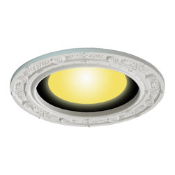 Renovators Supply - Spot Light Trim White Urethane Recess Light Trim 8 ID x 12 OD' - Recessed Lighting Trim: Made of virtually indestructible  high-density urethane our spotlight rings are cast from  steel molds guaranteeing the highest quality on the market. High-precision steel molds provide a higher quality  pattern consistency, design clarity & overall strength & durability.  Lightweight they are  easily installed  with no special skills. Unlike plaster or wood urethane is resistant to  cracking, warping or peeling.   Factory-primed  our spotlight rings are ready for finishing & enhance any ceiling light fixture. Features exquisite honeysuckle design. 8 in. dia.