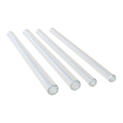 """Strawesome - Set of 4 Mixed Glass Drinking Straws - A mixed set of two 8"""" Regular width straws and two 8"""" Smoothie width straws for those that love to drink both watery and thicker beverages.  And a bonus is that you get a FREE cleaning brush with the set!"""