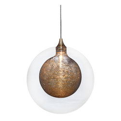 Ohr Lighting® - Kadur Glass Pendant Light, Clear with Gold Inner - Drizzled glass threads caught within pristine glass orbs hover suspended in midair. *Each order is custom made and may take up to 8 weeks to ship.