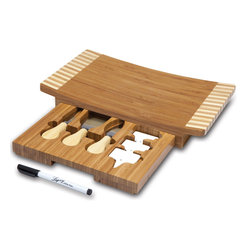 """Picnic Time - Concavo Cutting Board And Cheese Tools Set - The Concavo cutting board and cheese tools set is compact and sleek. It measures 13.5"""" x 8"""" x 2"""" and has a dark bamboo cutting surface and pull-out tools drawer with zebra wood panels/tray handles on either side. The surface of the board is slightly sunken in the center, giving it form and function. It includes three cheese tools, three porcelain cheese markers, and a wet erase pen. Use the Concavo whenever you serve a cheese assortment at your parties and get-togethers and get the conversation started!. Includes: 1 cutting board with pull-out drawer to hold cheese tools (3 stainless steel cheese tools with bamboo handles: 1 Cheese fork, 1 Crumbly cheese chisel knife, 1 Pointed-tip hard cheese knife), 3 ceramic cheese markers; 1 wet erase marker"""