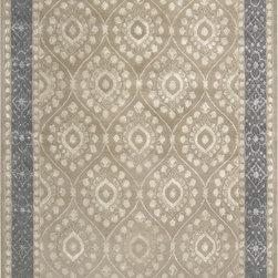 Modern Area Rug, 5x7 - Hand Tufted Area Rug 5'x7'-Taupe with Blue Border
