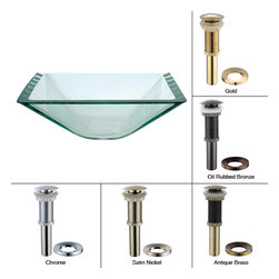 Kraus - Kraus Aquamarine Square Clear Glass Vessel Sink with PU-MR Gold - *Fashionable bathroom sink is the perfect harmony of elegance and style