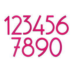 """Hot Pink Contemporary House Numbers - Spice up your home's exterior with these 5""""  Hot Pink house numbers. Each number is sold individually and mounts from behind for a sleek, seamless look."""