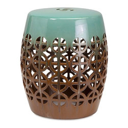 "Imax - Fretwork Chocolate Turquoise Oversized Ceramic Garden Stool - *Dimensions: 20""h x 17""w x 17"""