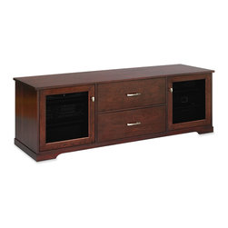 Standout Designs - Standout Horizon EX Media Console, 2-Drawer, Espresso on Cherry, Tinted Doors - Standout Designs Horizon EX media consoles are skillfully made and beautifully finished by Pennsylvania craftsmen using premium American solid lumber. Choose from five beautiful finishes: Natural Walnut, Espresso stain on Cherry, Rose stain on Cherry, Sunrise stain (a light tint) on Cherry, and Black Lacquer on Ash. It hosts most flat screen TVs to 80 inches diagonal on its top. No assembly is required.