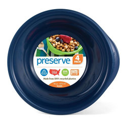 LaManna Precision - Everyday Bowl | 4 Count Blue - Preserve Everyday Tableware is perfect for everything from casual family meals to al fresco dining. The plates have been specially designed for ease of use, shaped and weighted for stability and resistance to spills. They are also designed to be dishwasher safe and durable enough to last decades�they can literally be used thousands of times. For this reason, we chose a textured material on the plate to hide utensil marks.