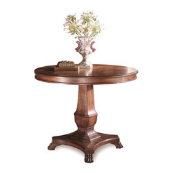 Sherrill Occasional - Sherrill Occasional Entry / Party Table 520-720 - Very handsome cabriole footed, urn-post, pedestal table featuring a star patterned prima vera veneered top.