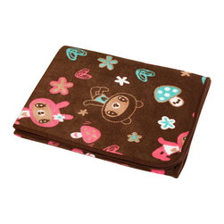 Blancho Bedding - Brown Dancing Bear Fleece Throw Blanket In A String Bag  30.7 by 46.9 inches - The Coral Fleece Throw Blanket In A String Bag from Character Korea Barunson measures 30.7 by 46.9 inches for blanket. This is a blanket with lovely dancing bear pattern and the blanket can be stored in a little draw string bag. Whether you are adding the final touch to your bedroom or rec-room these patterns will add a little whimsy to your decor. Machine wash and tumble dry for easy care. Will look and feel as good as new after multiple washings! This blanket adds a decorative touch to your decor at an exceptional value. Comfort, warmth and stylish designs. This throw blanket will make a fun additional to any room and are beautiful draped over a sofa, chair, bottom of your bed and handy to grab and snuggle up in when there is a chill in the air. They are the perfect gift for any occasion! Available in a choice of whimsical kid-friendly prints to spark the imagination, the blanket is durable enough to look great on the go.