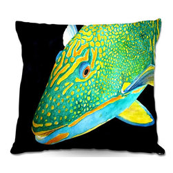 DiaNoche Designs - Pillow Woven Poplin from DiaNoche Designs by Marley Ungaro - Deep Sea Life- Parr - Toss this decorative pillow on any bed, sofa or chair, and add personality to your chic and stylish decor. Lay your head against your new art and relax! Made of woven Poly-Poplin.  Includes a cushy supportive pillow insert, zipped inside. Dye Sublimation printing adheres the ink to the material for long life and durability. Double Sided Print, Machine Washable, Product may vary slightly from image.