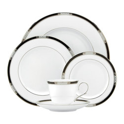 Lenox - Lenox Hancock Platinum White 5-Piece Place Setting - Lenox Hancock Platinum White 5-Piece Place Setting