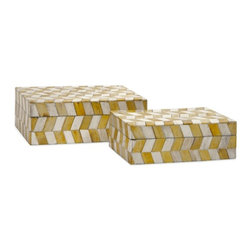 """IMAX - Essentials Mellow Yellow Bone Boxes - Set of 2 - Essentials by Connie Post has received a makeover with new colors and style like this set ofeetwo bone boxes in modern, funky pattern. In melon sorbet, marine blue, mellow yellow and green apple. Item Dimensions: (7.25-8.5""""h x 5.25-6.25""""w x 2.5-3"""")"""