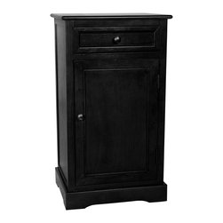 Oriental Furniture - Classic Design Nightstand - Black - Classic nightstand with convenient top drawer and practical lower cabinet. Perfect for a lamp table next to a sofa, reading chair, or bedside, the simple lines accommodate both modern and traditional decor. Offered here at an unbeatable price.