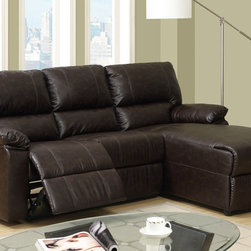 Small Coffee Leather Reclining Sectional Sofa Recliner Right Chaise - Breath easy with this recliner sectional set the features all the amenities of style, comfort and functionality into one. Covered in a cream bonded leather, it includes plush seating with manual reclining and a left-sided chaise.