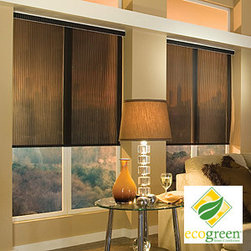 Comfortex - Comfortex Envision Roller Shades - EcoGreen Aurora - The new EcoGreen line of roller shades offers stylish and environmentally friendly fabrics that are PVC-free and fully recyclable.  Aurora features vertical colored stripes with narrow sheer striping.