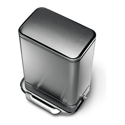simplehuman - 38 Litre Steel Bar Step Can - You'll never fumble to find the pedal on this trash can. The reinforced steel bar opens the lid wherever you step, while patented technology closes the top smoothly and silently, every time. Perfect for the kitchen, integrated charcoal filters help control the funk between bag changes.