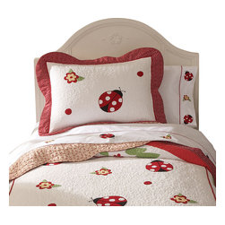 Pem America - Lady Bug Yard Queen Sheet Set - Lady Bug Yard is a bright collection of red, white, and black lady bugs on a bed of white. The frame of the quilt has an applique leaf design in green with a scalloped outer frame in red.  The quilt and pillow shams face is pieced 100% cotton material and the pattern is fully accessorized.  This is the perfect bedding for that little girl that loves ladybugs! Coordinating sheet set with attached hem.  Includes flat, fitted for a queen size bed and two standard size pillowcases. 100% Cotton, 200 thread count with embroidered icons. Machine washable.