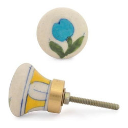 "Knobco - Single Flowers Knob, Turquoise Flower And Green Leaf With White Base - Turquoise Flower and Green leaf with White Base Cabinet knob from Jaipur, India. Unique, hand painted cabinet knobs  for your kitchen  and bathroom cabinets. 1.5"" in diameter. Includes  screws for  installation."