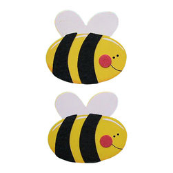 """Little Elephant Company - Busy Felted Bumblebee Quilt Clips set of 2 - Beautiful quilt clips that transform your treasured baby quilts and comforters into charming hanging artwork for your child's room.    Very easy to use.  ***    The set is two (2) busy bumblebees made of painted wood layered with soft felt.    These quilt clips are perfect for garden themed bedding sets.    Each bee measures 3.5 in. x 3.75 in.    How many quilt clips do I need?  - For a quilt that is still stiff and new, you will only need 2 quilt clips for up to 36 inches wide. Many people will do 3 quilt clips just for the look, though. For a quilt that has been washed and is pliable, 2 clips will be sufficient for up to 36 inches, but you may want 3 clips to help keep the center from sagging. For a quilt 36 to 42 inches wide, use 3 to 4 clips. For a quilt 42 to 50 inches, use 4 to 5 clips.    How do the quilt clips work?  - The only hardware is needed is a long nail, approximately 1 1/2"""" to 2 1/2"""" in length.  - Measure how far apart you would like the clips to be.  - Decide how high on the wall they will be placed and mark your first spot. Using a level, measure out and mark the second spot.  - Place your nails into the wall at a 45 degree angle. IMPORTANT: If your nail is not at a 45 degree angle, the clip may slip off the nail.  - Clip the quilt and slide the back of the clip over the nail.    What are the clips made of?  - Designs are made of layered wood. A few of our designs also have layered felt.   - Clips on the back are a sturdy plastic so as not to damage your fabric."""
