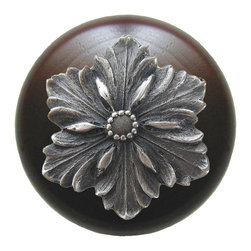 """Inviting Home - Opulent Flower Walnut Wood Knob (antique pewter) - Opulent Flower Walnut Wood Knob with hand-cast antique pewter insert; 1-1/2"""" diameter Product Specification: Made in the USA. Fine-art foundry hand-pours and hand finished hardware knobs and pulls using Old World methods. Lifetime guaranteed against flaws in craftsmanship. Exceptional clarity of details and depth of relief. All knobs and pulls are hand cast from solid fine pewter or solid bronze. The term antique refers to special methods of treating metal so there is contrast between relief and recessed areas. Knobs and Pulls are lacquered to protect the finish. Alternate finishes are available. Detailed Description: The Opulent Scroll pulls add an amazing focus to any drawers or cabinets - it will make them look regal and majestic. The absolute perfect place for these pulls to be used is in the dining room on your china closet. They are great pulls to use if you are trying to punch up an antique piece of furniture or cabinet. You should consider using the Opulent Scroll pulls in combination with the Opulent Flower knobs or wood knobs with flower."""