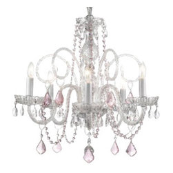 "The Gallery - Crystal Chandelier with Pink Crystals 24"" - What could be more romantic than illuminating your favorite setting with the sparkle of pure crystal? Why, adding a faint touch of blush, of course!"