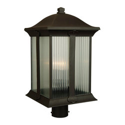 Exteriors - Exteriors Summit Transitional Outdoor Post Lantern Light X-29-5214Z - From the Summit Collection, this handsome Craftmade outdoor post lantern light features traditional detailing and clean lines that create a more refined, stately appearance. This post light comes in a beautiful Oiled Bronze finish paired with halophane glass window panes that add texture and intrigue to the design.