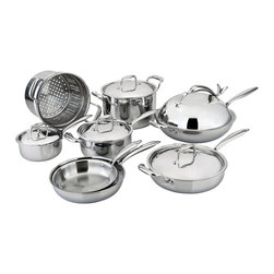 Engel-Riveire - All-Ply™ 13-Piece Cookware Set - If the time has come for a cookware overhaul, this is the set to take you into top chef territory. A strategic combo of copper, aluminum and stainless steel offers optimal heat distribution and temperature control, while the ergonomic stay-cool handles will have you running that stove top with the greatest of ease.