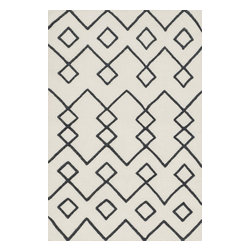 """Loloi Rugs - Adler Ivory Rug, 3'6""""x5'6"""" - The Adler Collection pushes traditional flat-weaves to new heights. Its innovative high/low texture elevates the wool to form a pronounced pattern and faintly Moroccan style look. Hand-woven of 100% wool in India, Adler is available in a cool, on trend set of neutral colors."""
