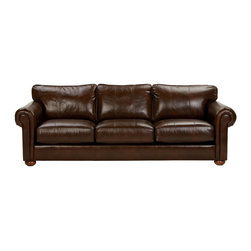 Ethan Allen - Richmond Leather Sofa, Old English/Chocolate - Leather has a way of elevating upholstered pieces to a special comfort zone-- to the place where you'd reside all day, every day, if you could. Add deeper-than average-seats, box cushions, and stylish rolled arms and you have our incomparable Richmond sofa.