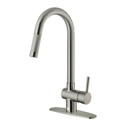 VIGO Industries - VIGO Stainless Steel Pull-Out Kitchen Faucet with Deck Plate - Improve the look of your kitchen by adding a stylish and durable VIGO faucet.