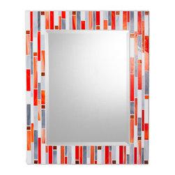 "Mosaic Mirror - White, Orange, Gray (Handmade), 24"" X 18"", Vertical - MIRROR DESCRIPTION"