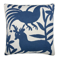 Thomas Paul - Fragments Collection, Otomi, Marine - If only it was possible to sew all the Thomas Paul pillows together into a sofa. It would be the most talked about sofa in town. All the bright colored fauna and flora, the patchwork of silk and linen--it would truly be a masterpiece. The only thing that keeps us from doing this is--we don't know how to sew. And then there is that business about somehow attaching legs. We're even more clueless on how to do that.