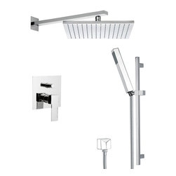 Remer - Sleek Shower Faucet Set with Sliding Rail, Matte Black - If you are in need of a shower faucet, why not consider this upscale shower faucet from the Remer Autunno collection? Perfect for more contemporary settings, this quality shower faucet is wall mount and finished with matte white, matte black, chrome, gold, old copper, old brass, oil bronze, or satin nickel.