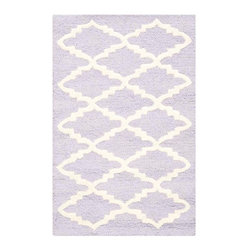 Safavieh - Milana Hand Tufted Rug, Lavander / Ivory 2' X 3' - Construction Method: Hand Tufted. Country of Origin: India. Care Instructions: Vacuum Regularly To Prevent Dust And Crumbs From Settling Into The Roots Of The Fibers. Avoid Direct And Continuous Exposure To Sunlight. Use Rug Protectors Under The Legs Of Heavy Furniture To Avoid Flattening Piles. Do Not Pull Loose Ends; Clip Them With Scissors To Remove. Turn Carpet Occasionally To Equalize Wear. Remove Spills Immediately. Bring classic style to your bedroom, living room, or home office with a richly-dimensional Safavieh Cambridge Rug. Artfully hand-tufted, these plush wool area rugs are crafted with plush and loop textures to highlight timeless motifs updated for today's homes in fashion colors.