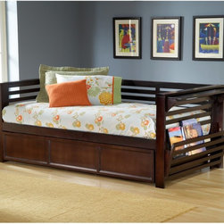 Hillsdale Furniture - Miko Daybed - HL2348 - Shop for Daybeds from Hayneedle.com! Talk about pulling out all the stops. With pullout magazine racks flip-up end tables and an optional pullout trundle the Miko Daybed is as handy as it is pretty. The transitional styling and rich espresso finish look right at home in every decor from classic to contemporary. It's made of solid hardwood and wood composite and you can order this daybed to fit your needs. Choose to include a mattress the under-bed trundle and even the under-bed trundle with two mattresses. A daybed slat system is included with all options eliminating the need for a box spring. Trundle measures 77.38L x 40.5W x 15.64H inches. What is a Trundle?A trundle is an under-the-bed pullout unit. A trundle can be an additional sleeping area with a mattress up to 8 inches thick or it can provide additional storage. Many daybeds come with a trundle unit. Optional mattress is the Orthopedic Back Aid Mattress. This quality mattress features a Sta-rite quilted cotton/polyester pad and a patented Aerolife bonded cotton pad made with high-performance fibers that extend the life of the mattress. Rolled inner spring coils take the pressure off your back while a Damask quilted layer on one side enhances your comfort. Twin size measures 75L x 39W x 7.5H inches. Carries a three-year manufacturer's warranty. About Hillsdale FurnitureLocated in Louisville Ky. Hillsdale Furniture is a leader in top-quality affordable bedroom furniture. Since 1994 Hillsdale has combined the talents of nationally recognized designers and globally accredited factories to bring you furniture styling and design from around the globe. Hillsdale combines the best in finishes materials and designs to bring both beauty and value with every piece. The combination of top-quality metal wood stone and leather has given Hillsdale the reputation for leading-edge styling and concepts.