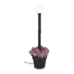 """Patio Living Concepts - Patio Living Concepts Milano 82 Inch Black w/ White Globe Lantern Planter - 82 Inch Black w/ White Globe Lantern Planter belongs to Milano Collection by Patio Living Concepts Design inspired in the Italian Renaissance. This electric waterproof lantern planter features 12"""" acrylic white globe, black resin construction and cast iron colored resin planter base. Two level dimming switch and 10 ft. weatherproof cord and plug. 1-100 watt bulb maximum. Model # 68100 Lantern (1)"""