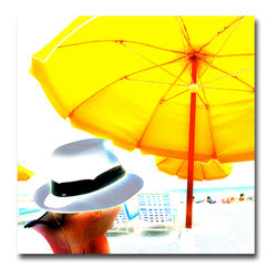 Hat Man - Canvas, 20x20x3 - I was in South Beach, Miami doing a story for 20/20. This image began as a straight shot but then came back hoe and used a color palette that was almost cartoon-like.  I like the piece for its optimism but also the untold narrative. Who IS the guy in the hat? Looks like a snowbird from the Jersey Shore. Check out the beard, hat, and necklace. Fun—Pop Art.