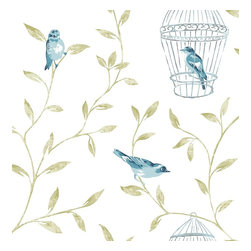 Graham & Brown - Birds & Cages Wallpaper - We have created a beatuiful Birds & Cages with suttle colours, this would look good as a feature wall and all 4 walls, the mixture between the green, and white background make them stand out.